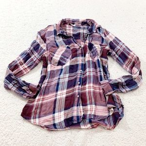 Lucky brand pink purple soft classic plaid flannel